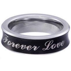 COI Titanium Black Silver Forever Love Concave Ring-5854