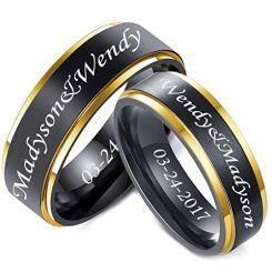 *COI Titanium Black Rose Step Edges Ring With Custom Engraving-5861
