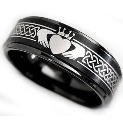 *COI Black Titanium Mo Anam Cara Celtic Step Edges Ring-5862