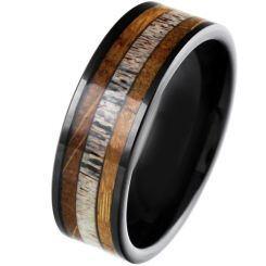 COI Black Titanium Deer Antler & Wood Pipe Cut Flat Ring-5863