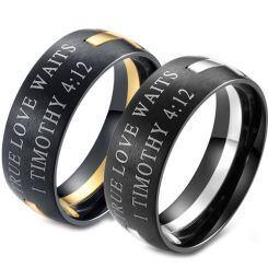 COI Black Titanium Gold Tone/Silver Cross Scripture Ring-5869