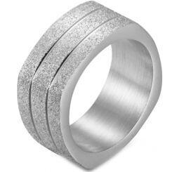 COI Titanium Black/Gold Tone/Silver Sandblasted Square Ring-5876