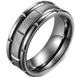 *COI Titanium Black/Rose Tire Tread Tire Tread Brick Pattern Ring-5878