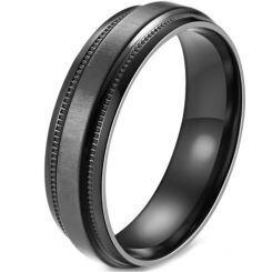 COI Titanium Black/Blue Step Edges Ring-5880