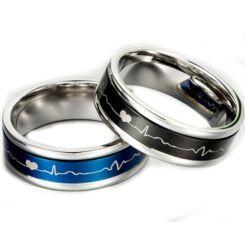 **COI Titanium Black/Blue Silver Heartbeat & Heart Ring-5887