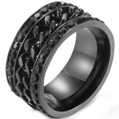 **COI Titanium Black/Gold Tone/Rainbow Pride Keychain Link Ring With Cubic Zirconia-5892