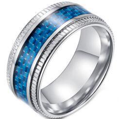 **COI Titanium Step Edges Ring With Black/Blue Carbon Fiber-5894