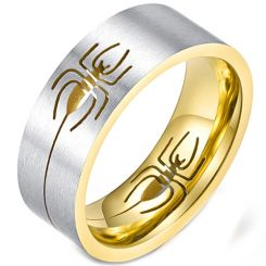 **COI Titanium Silver Black/Gold Tone Spider Pipe Cut Flat Ring-5895