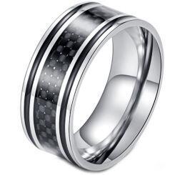 **COI Titanium Black Silver Ring With Carbon Fiber/Wood-5898