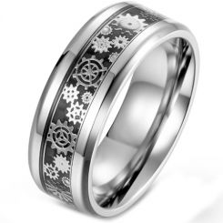 **COI Titanium Gears Beveled Edges Ring With Carbon Fiber-5899