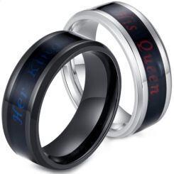 *COI Titanium Black/Silver His Queen Her King Beveled Edges Ring-5908