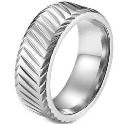 *COI Titanium Black/Silver/Rose Grooves Beveled Edges Ring-5917