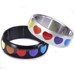 *COI Titanium Black/Silver Rainbow Pride Hearts Dome Court Ring-5949