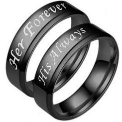 *COI Black Titanium Her Forever His Always Beveled Edges Ring-5953
