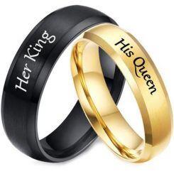 **COI Titanium Black/Gold Tone Her King His Queen Beveled Edges Ring-5954