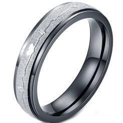 *COI Titanium Black Silver Heartbeat & Heart Ring-5961