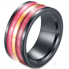 *COI Titanium Black Red Yellow Resin Ring-5965
