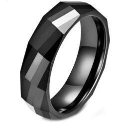 *COI Black Titanium Faceted Ring-5969
