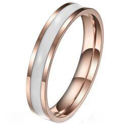 *COI Rose Titanium White/Black Ceramic Pipe Cut Flat Ring-5970