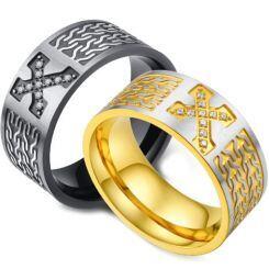 *COI Titanium Black/Gold Tone Silver Cross Ring With Cubic Zirconia-5976