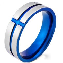 *COI Titanium Blue/Gold Tone Silver Grooves Ring-5979