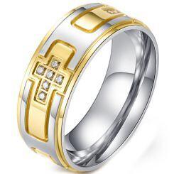 *COI Titanium Black/Gold Tone Silver Cross Ring With Cubic Zirconia-5983