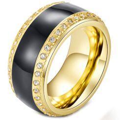 *COI Titanium Black Gold Tone Ring With Cubic Zirconia-5984
