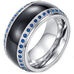 *COI Titanium Black Silver Ring With Created Blue Sapphire-5985