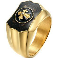 *COI Titanium Black Gold Tone/Silver Cross Ring With Cubic Zirconia-5990