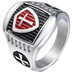 *COI Titanium Black Red Silver Cross Ring-5993