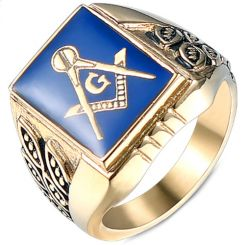 *COI Titanium Blue Gold Tone Black Masonic Freemason Ring-5995