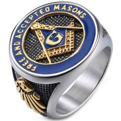 *COI Titanium Black Gold Tone Blue Masonic Freemason Ring-5998