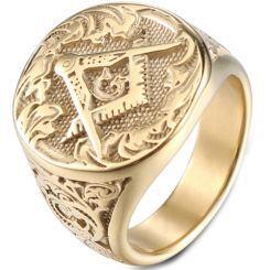*COI Gold Tone Titanium Masonic Ring-6017