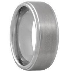 **COI Titanium Polished Shiny Matt Step Edges Wedding Band Ring - JT055A
