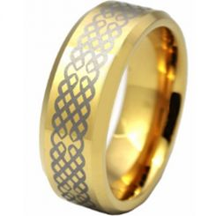 COI Gold Tone Titanium Celtic Beveled Edges Ring - JT636AA