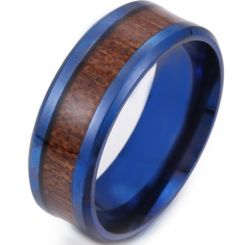 *COI Blue Titanium Beveled Edges Ring With Wood-6842