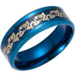 *COI Titanium Blue/Black/Silver Dragon Beveled Edges Ring-6847