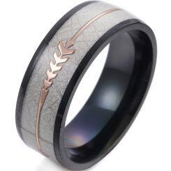 *COI Titanium Blue/Gold Tone/Black/Silver Meteorite Ring With Arrows-6848