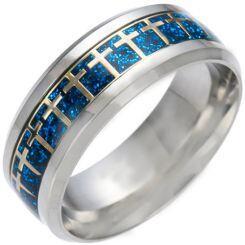 *COI Titanium Cross Blue/Gold Tone/Silver Meteorite Beveled Edges Ring-6849