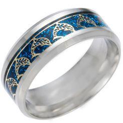 *COI Titanium Dolphin Blue/Gold Tone/Silver Meteorite Beveled Edges Ring-6850