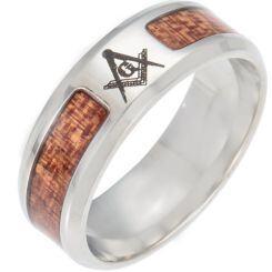 *COI Titanium Masonic Beveled Edges Ring With Wood-6851