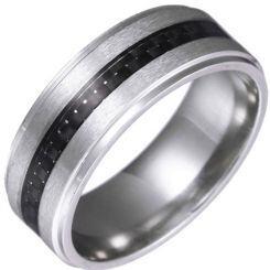 *COI Titanium Silver/Rose/Gold Tone Carbon Fiber Step Edges Ring-6856