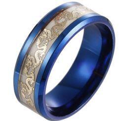 *COI Titanium Black/Blue Dragon Luminous Beveled Edges Ring-6857