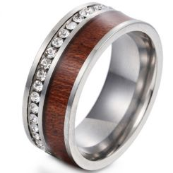 *COI Titanium Gold Tone/Black/Silver Wood Ring With Cubic Zirconia-6858