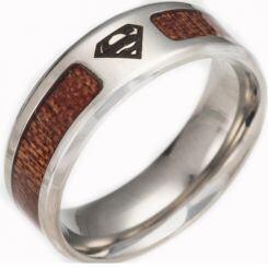 *COI Titanium Superman Ring With Wood-6859