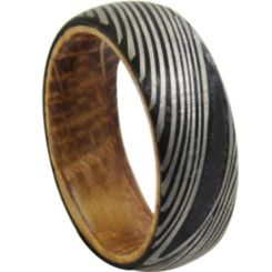 *COI Black Titanium Damascus Dome Court Ring With Wood-6863BB