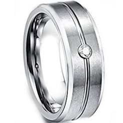 *COI Titanium Center Grooves Beveled Edges Ring With Cubic Zirconia-6865BB