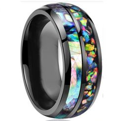 *COI Black Titanium Crushed Opal and Abalone Shell Dome Court Ring-6866BB