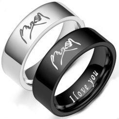 *COI Titanium Black/Silver I Promise I Love You Ring-6872AA