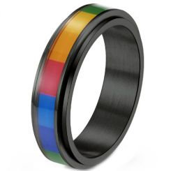 *COI Titanium Black/Gold Tone/Silver Rainbow Pride Step Edges Ring-6879AA
